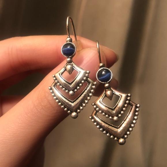 Avon custom earrings with blue cateye stone